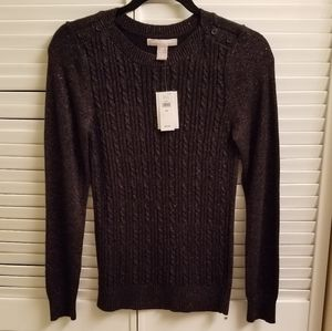 Banana Republic black and gold cable knit top